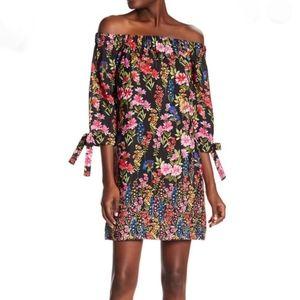 Vince Camuto Off Shoulder Black Floral Dress 10